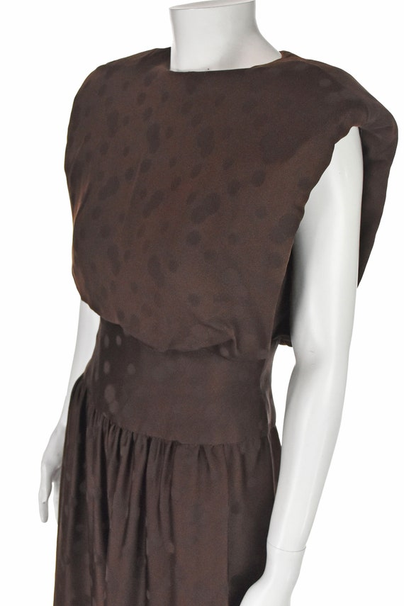 ARNOLD SCAASI 1960s Brown Silk Dress with Jacket - image 6
