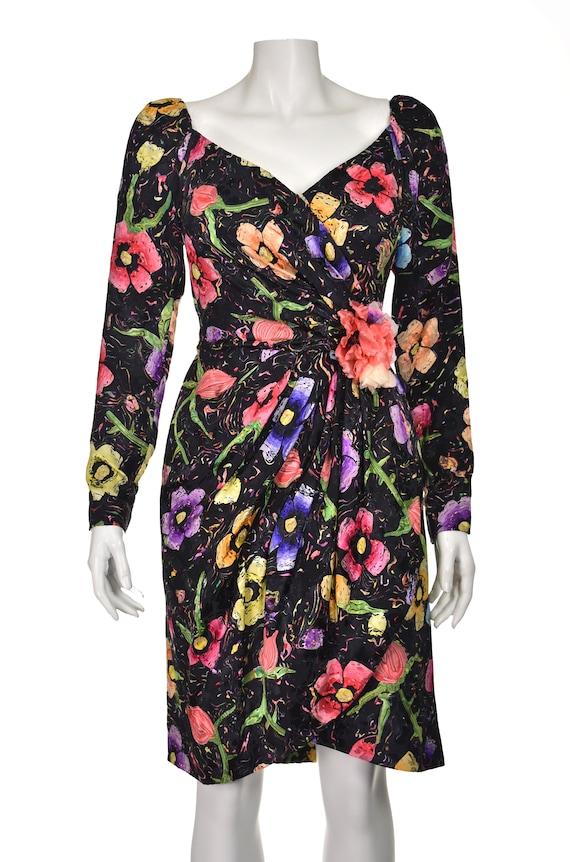 ARNOLD SCAASI Vintage Silk Floral Cocktail Dress … - image 2