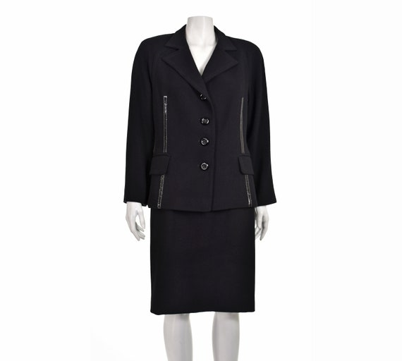 GIANFRANCO FERRE Black Wool Suit with Patent Leath