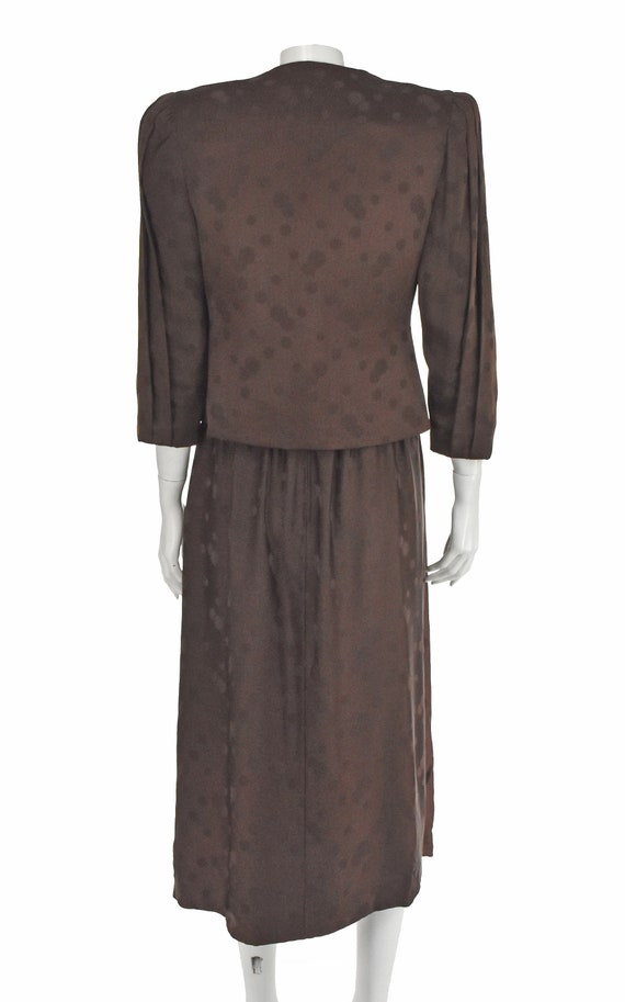 ARNOLD SCAASI 1960s Brown Silk Dress with Jacket - image 8