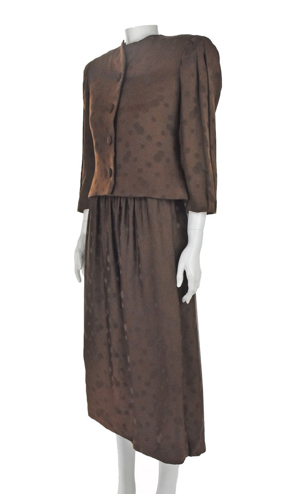 ARNOLD SCAASI 1960s Brown Silk Dress with Jacket - image 3