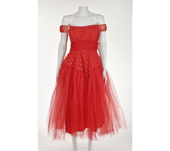 Classic 1950s Red Tulle Prom Party Dress - image 1