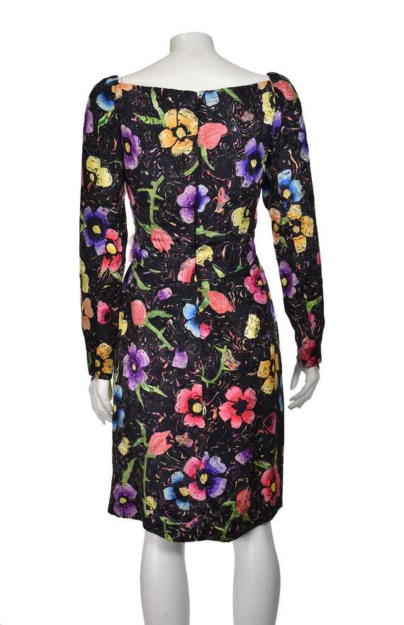 ARNOLD SCAASI Vintage Silk Floral Cocktail Dress … - image 7