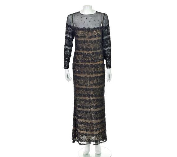 BILL BLASS Vintage Black Beaded Evening Dress