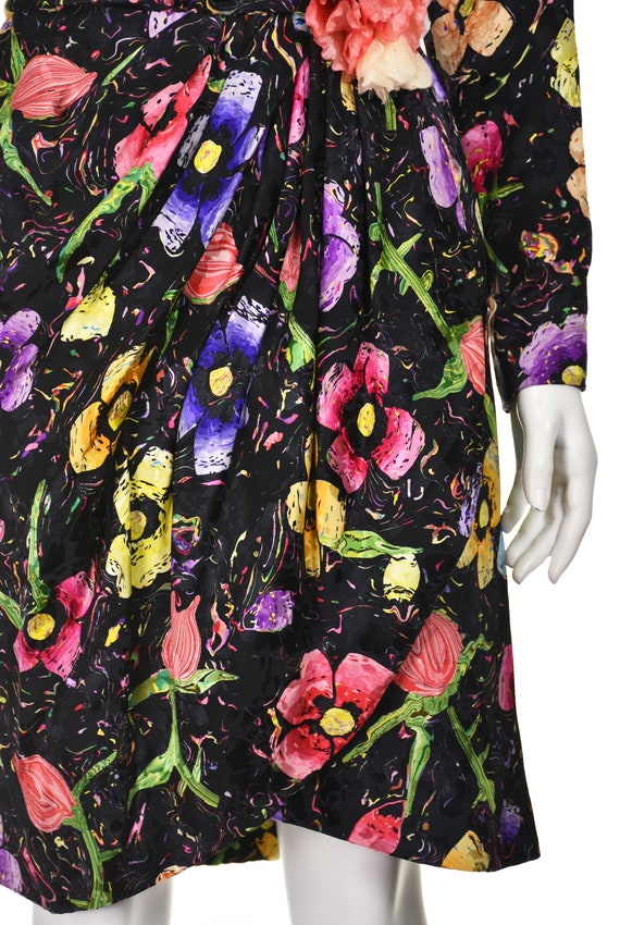 ARNOLD SCAASI Vintage Silk Floral Cocktail Dress … - image 5