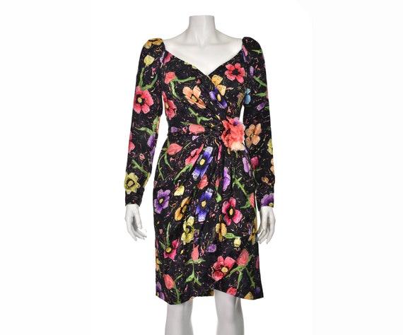 ARNOLD SCAASI Vintage Silk Floral Cocktail Dress … - image 1