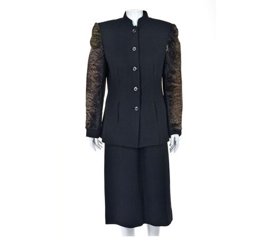 TRAVILLA Black Wool Crepe Skirt Suit with Fur Slee