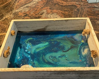 Rustic tray with fluid art and resin inlay