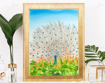 Watercolor Peacock Print, Orange feathers, nature, animal art, living room art, fine art