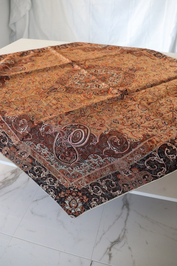 Termeh,Table Overlay,Fabric Turquoise Blue Orange and Gold Handmade Tablecloth Paisley Designs Tablecloth Persian Handcrafted Tablecloth
