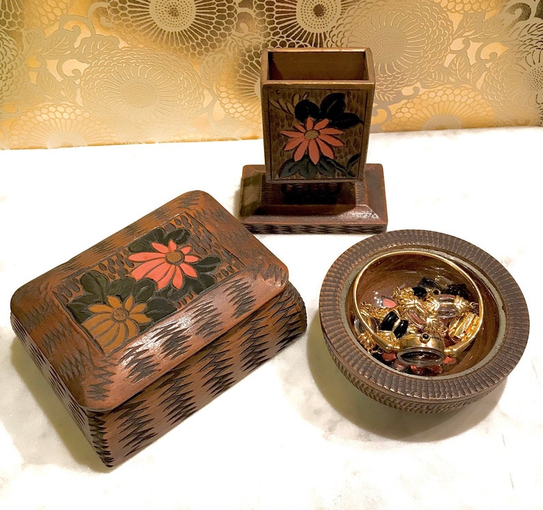 made by shokino Japanese hand made wooden trinketjewelry box Christmas gift 3pcs set