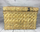 Wicker Basket Lid and Handles Wicker Suitcase Picnic Basket Vintage