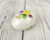 Vintage Limoges Egg Hand Painted Trinket Box Floral Flowers France Jewelry Box Ring