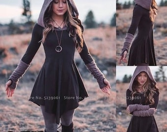 Women Retro Hooded Tops Medieval Wizard Witch Vintage Long Sleeve T-shirt Gothic Punk Style Casual Hoodies Tee Shirts Vestidos