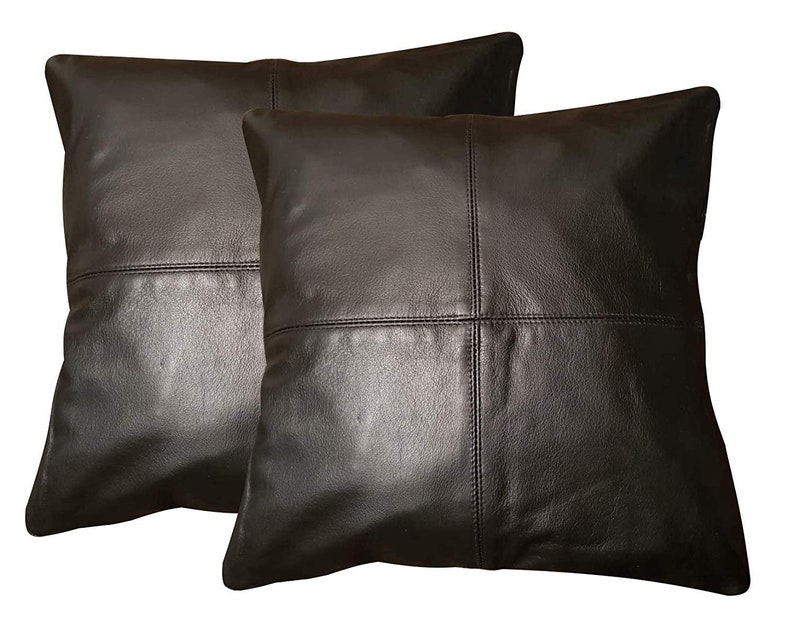 2 X Genuine 100 Handmade Black Leather Sofa Cushion Covers Etsy