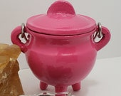 Cast Iron Cauldron Pink,use in a Altar for every day smudging 3 inch by 2 .75, 2 inch deep vessel New Age metaphysical supplies shop,witch