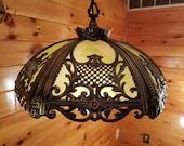 Restored Vintage Antique Brass Slag Glass Chandelier