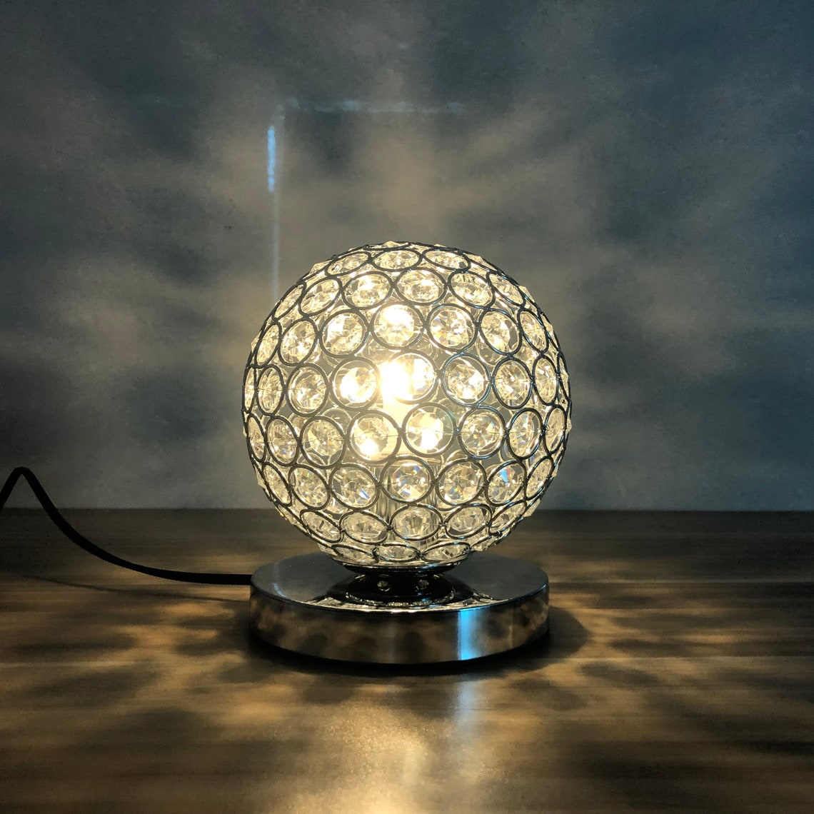 small modern crystal table desk lamp  bedside mood accent