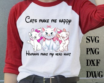 296dd3e2b Cat make me happy human make my head hurt PNG file digital , Cat shirts ,  Cat clothing ,Gift for cat lovers , Gift for cat mom,png,dxf