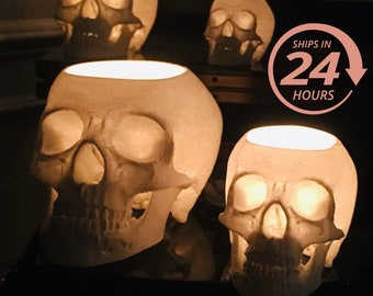 Halloween Glowing Skull Set (5), Halloween Decor, Light up Skull, Gothic Home Decor, Human Halloween Skull, Unique Decoration, Halloween