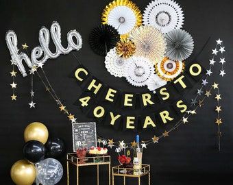 40th Birthday Decorations For Women Or Men Gift With Cheers To 40 Years Banner Back In 1979 Sign Paper Fans