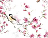 Birds And Blossom White Floral Birds Paper Napkin Serviette For Decoupage Scrapbooking Paper Crafts BF45