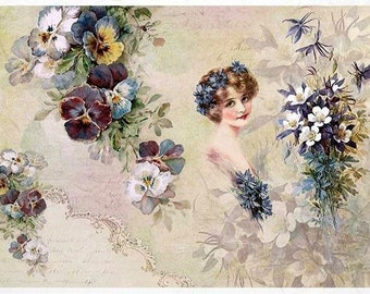 Rice Paper for Decoupage Scrapbook Craft Sheet Mucha Collection