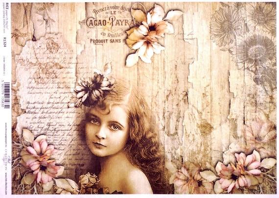 RICE PAPER DECOUPAGE PINK FLOWER FLORAL VINTAGE CRAFT SHEET SCRAPBOOKING 027