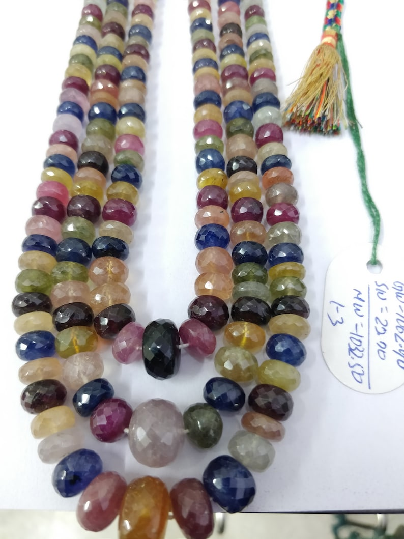 Gemstone 5-14 MM Faceted Rondelle Stone Beads Loose Strand Necklace Yellow,blue,Red,Green Sapphire 18 Inches Natural Multi Sapphire GF