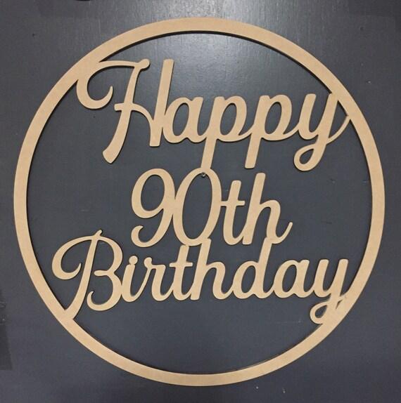 Personalised 90th Birthday Happy 90th Birthday Hoop Wall Art | Etsy