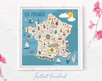 Map Of France Poster.France Map Etsy