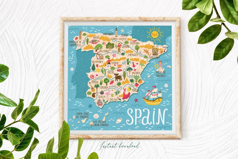 Kids Map Of Spain.Spain Map Poster Travel Print Kids Wall Art Cute Map Poster Spanish Travel Art Baby Poster For Kids Room Instant Download