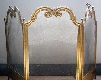 Antique Fireplace Screen >> Vintage Fireplace Screen Etsy
