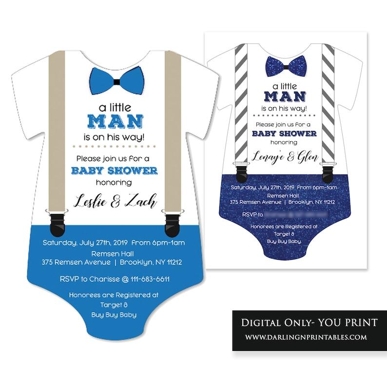 onesies bowtie invite Little Man Little Men theme Little Men Baby Shower
