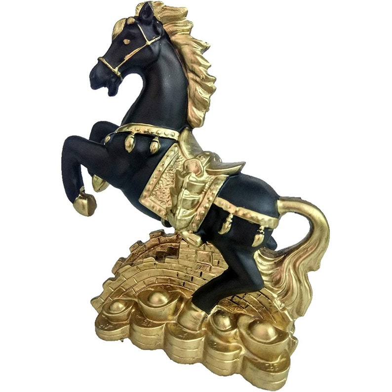 Black Golden Indian Fengshui Vastu Galloping Horse showpiece
