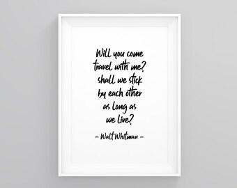 Wanderlust Minimalist Print Modern Art Modern Will You Come Travel With Me