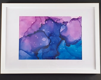 Framed Alcohol Ink Painting, Original Painting, Colourful Painting, Abstract alcohol ink, Yupo Paper