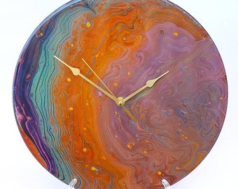 Silent Wall Clock, Acrylic Pour Clock, Upcycled Vinyl Record, Fluid Art, 30cm Wall Clock
