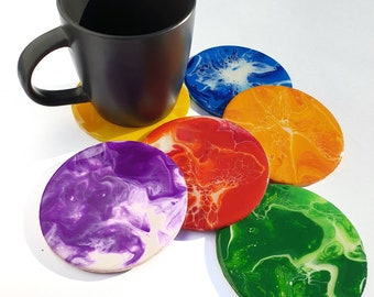Six Pride Coasters, Fluid Art, Colourful Painting, Acrylic Pouring