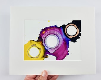 Small Alcohol Ink Painting, Non-Binary Flag, Colourful Painting, Abstract alcohol ink