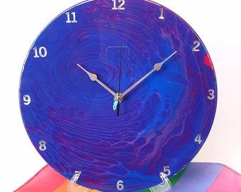 Vinyl Record Art, Pride Art, Acrylic Pour Clock, Silent Wall Clock, Functional Art, Unique Wall Clock