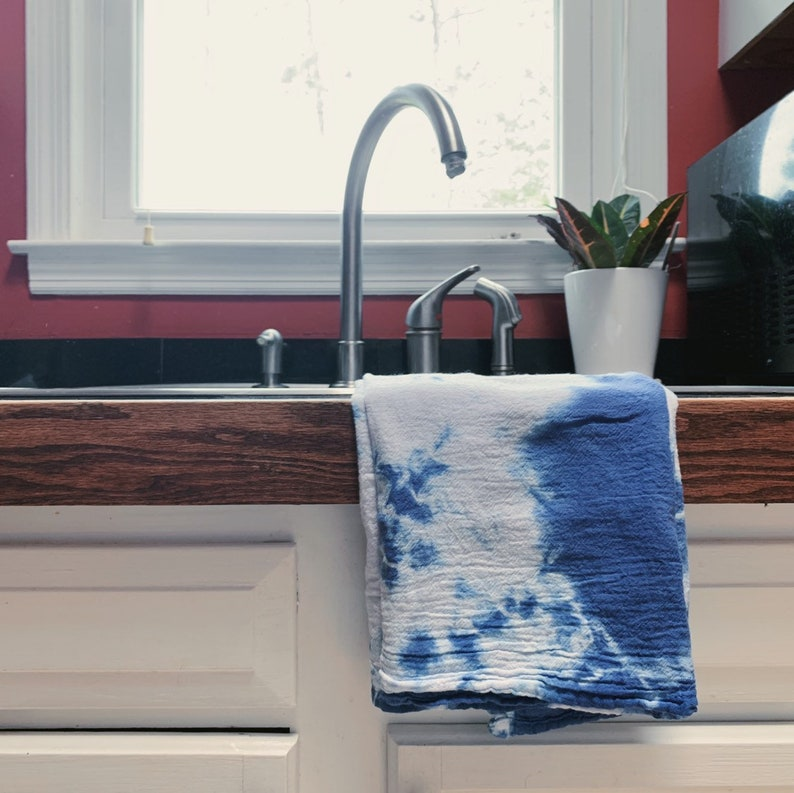 Cloud Shibori Towel  Shibori Flour Sack Towels  Hand Dyed  image 0