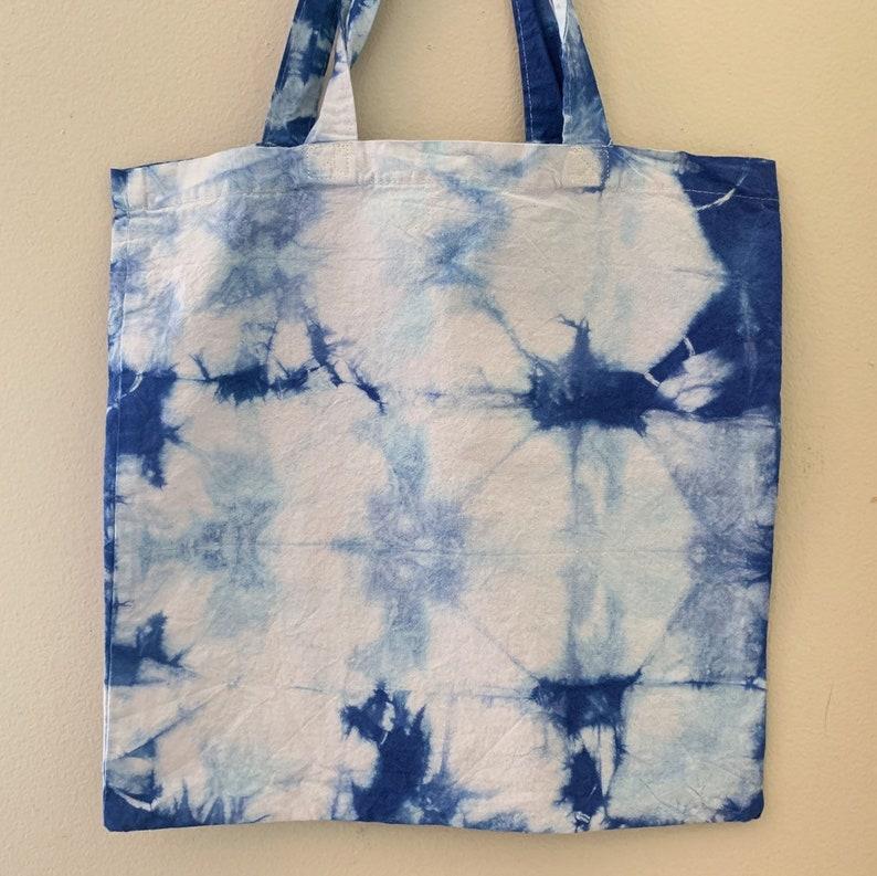 Triangle Shibori  Indigo Shibori Tote Bags  Reusable  image 0