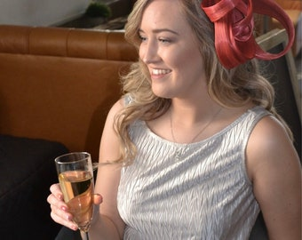 Pippa- Rust, Burnt Orange  fascinator, Hat, unique, mother of the bride or groom, Royal ascot