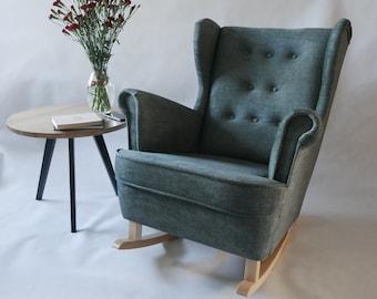 Green Wingback rocking armchair/ nursing chair // Schaukelstuhl/ Sessel