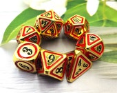D D Metal Dice Set, 7PCS Metallic Ancient Copper Dice with Metal Case for DND Dungeons and Dragons Table Games Roly Playing Rolling