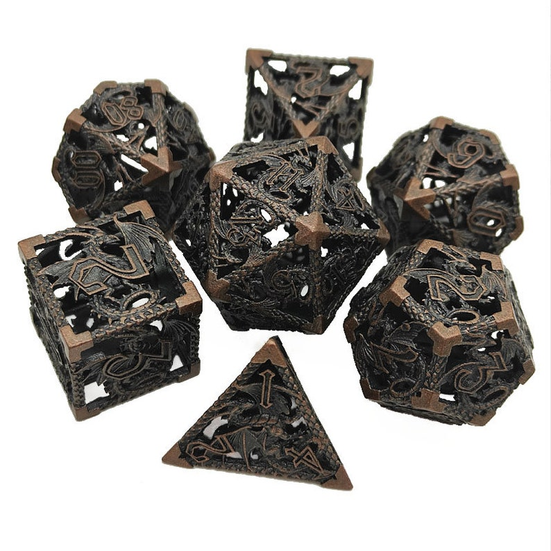 Hollow dice role playing games D20 D16 D12 D10 D8 D6 D4 tabletop games metal dice set dungeons and dragons