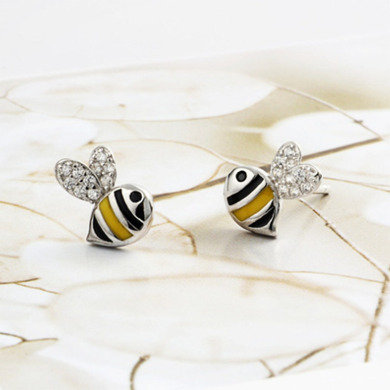 925 Sterling Silver Bumblebee Insect Bee Stud Earrings