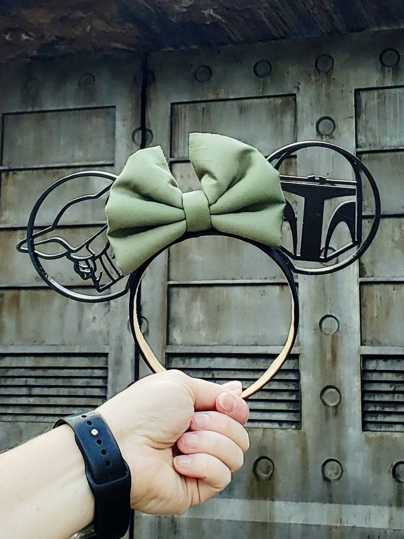 Baby Yoda Ears Mandalorian Mickey Mouse Ears Mandalorian With Bow