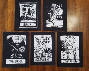 Tarot Card Patches collection of 5 DIY canvas patch punk patch